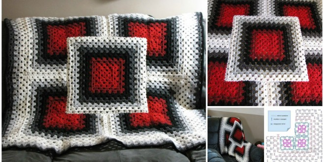 Black red white blanket
