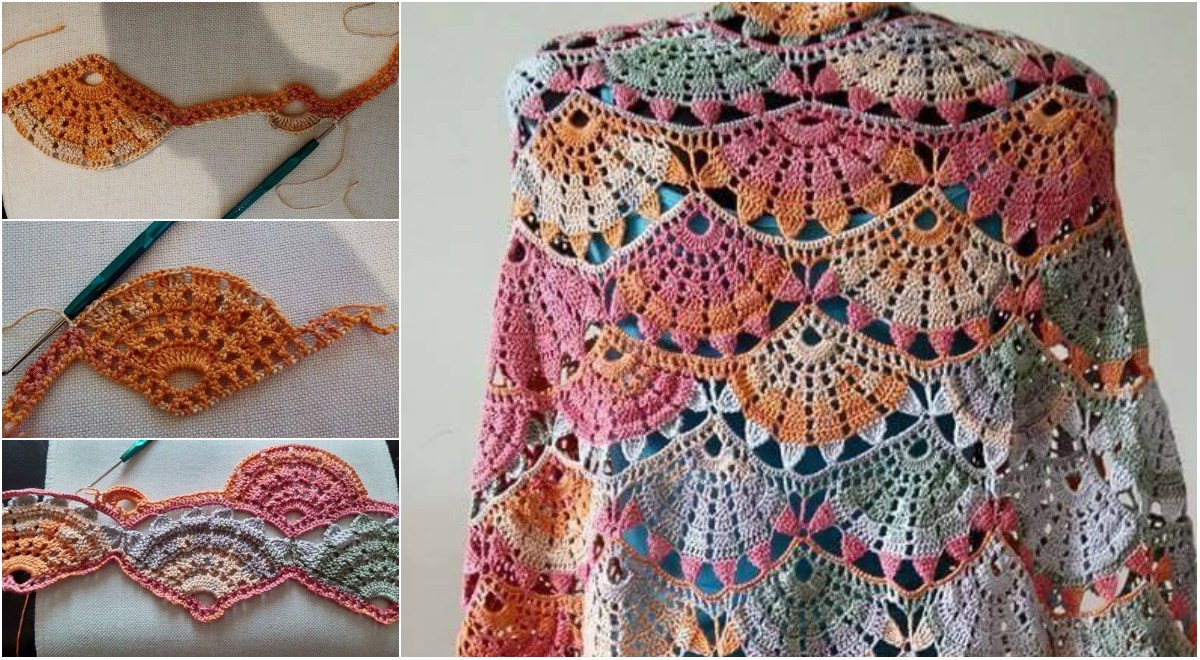 Spring Colorful Crochet Shawl – Diagrams & Video Tutorial