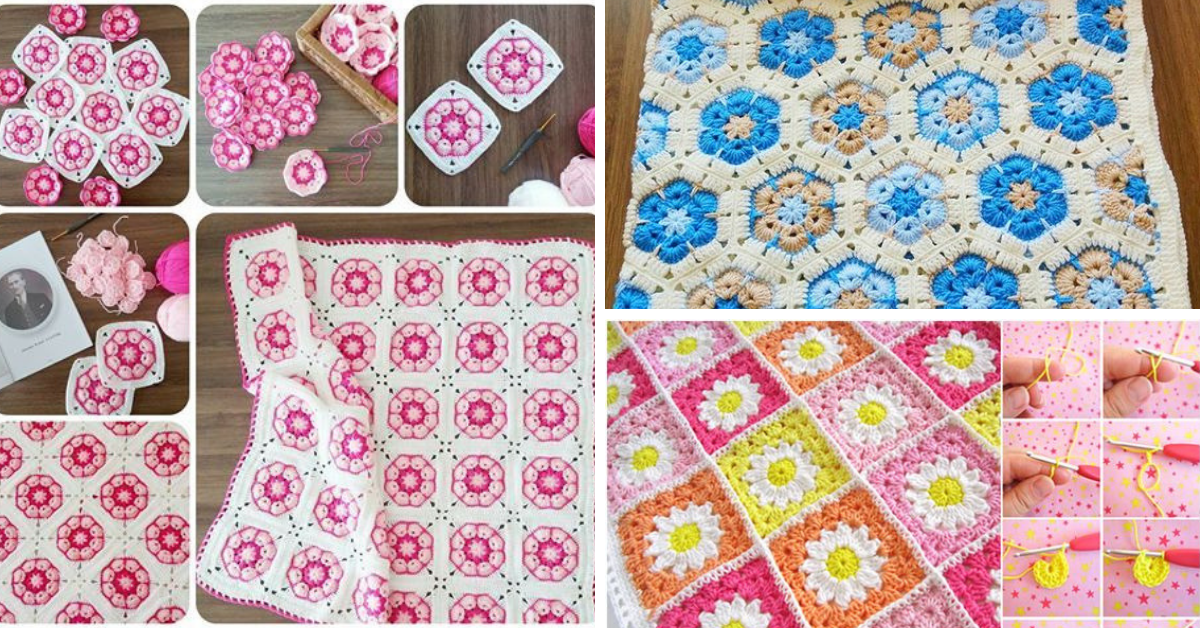 Crochet African Flower Blankets Free Pattern And Video Tutorial