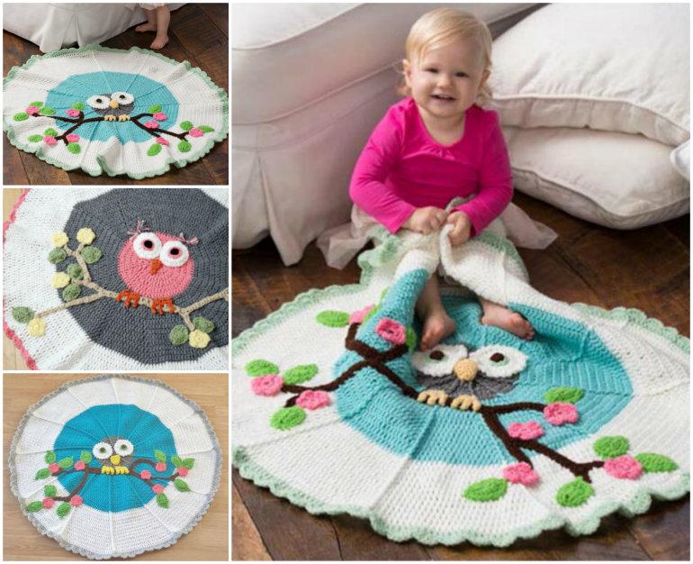 DIY Adorable Owl Crochet Baby Blanket