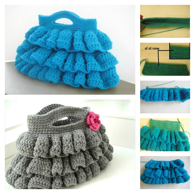 Knit Pattern Ruffle Bag : DIY Crochet Bella Ruffled Bag