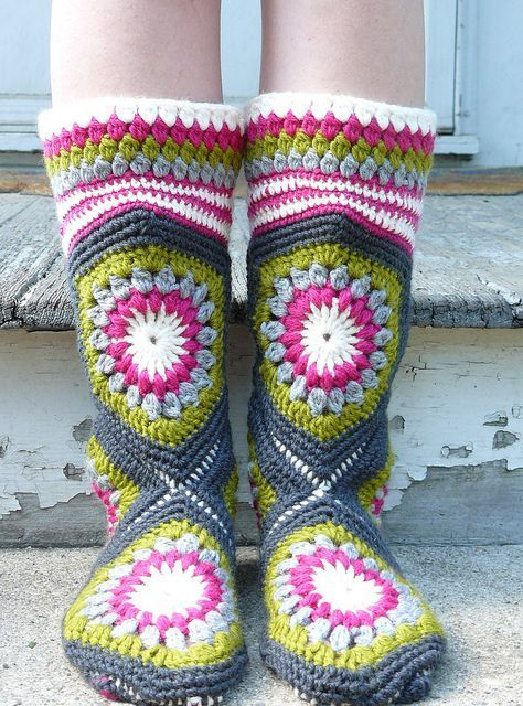 Crochet Boot Slippers 1
