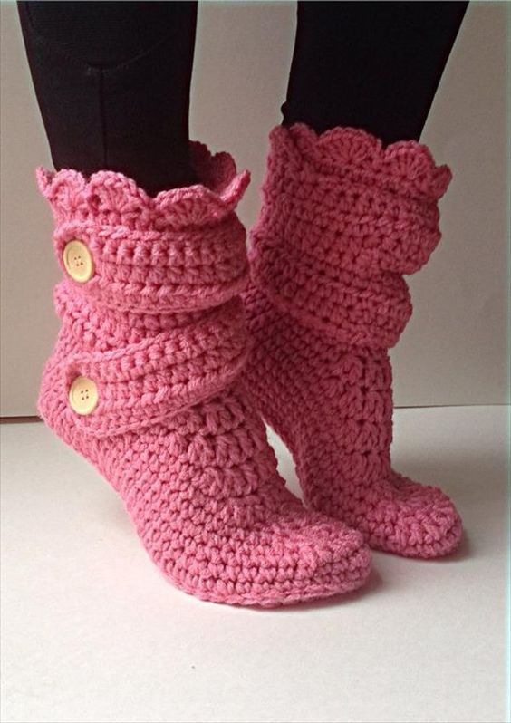 Crochet Boot Slippers 4 1