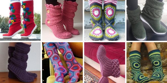Crochet Boot Slippers