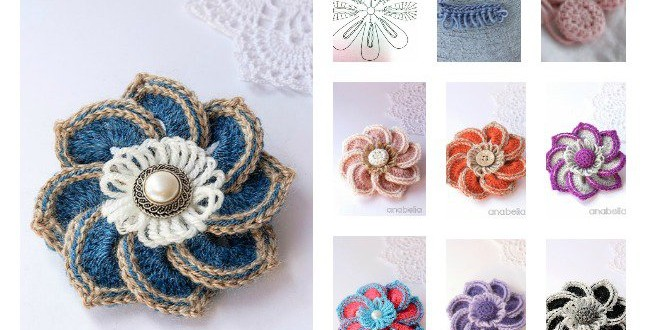 Crochet Brooches Chart and Tutorials