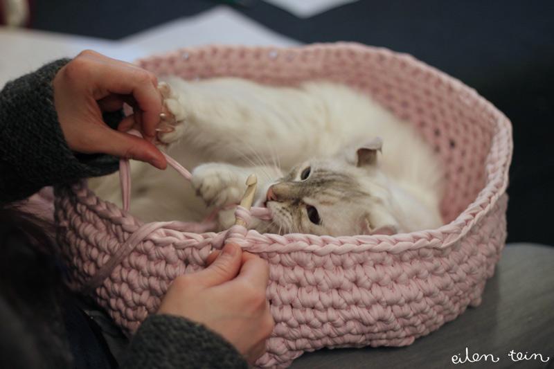 Лежак для кошки связать