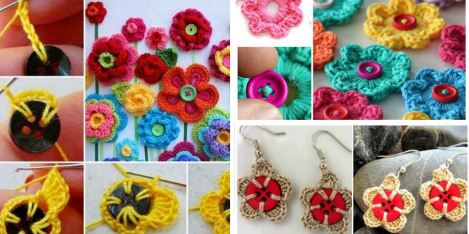 Crochet Flower Button