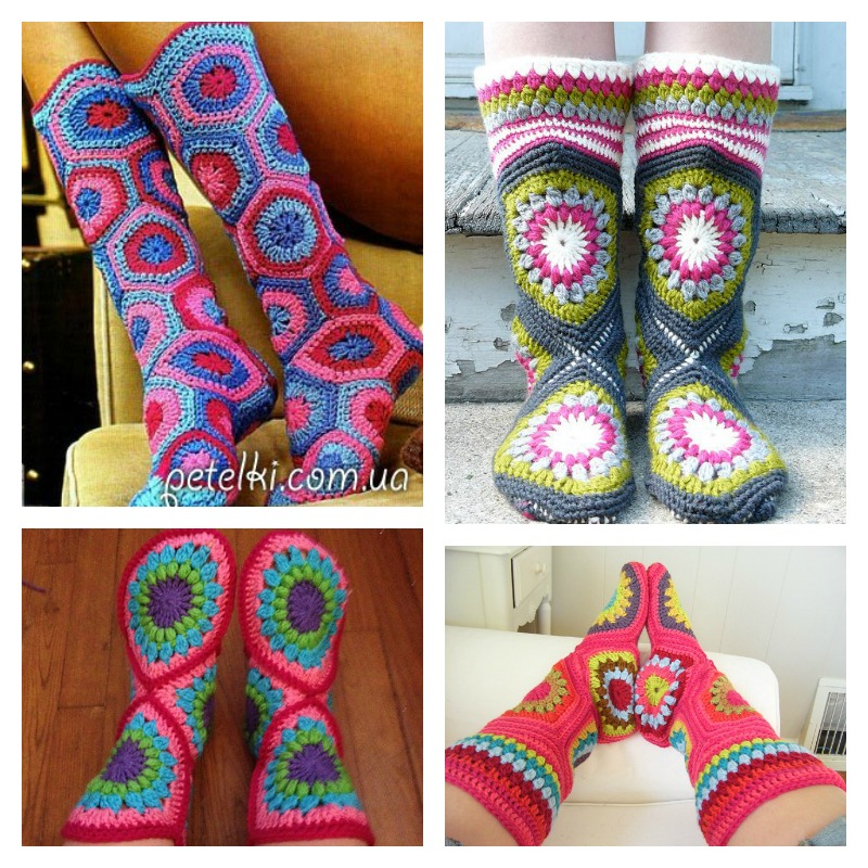 Crochet-Hexagon-Slipper-Boots-Pattern