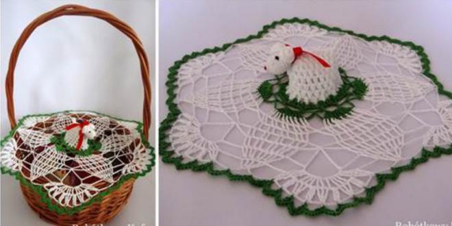 Crochet Napkin and Lamb for Easter Basket
