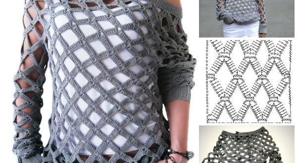 Crochet Net Sweater Free Pattern and Video tutorial