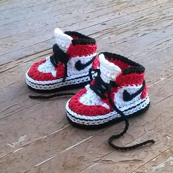 Crochet Nike Baby Booties 1