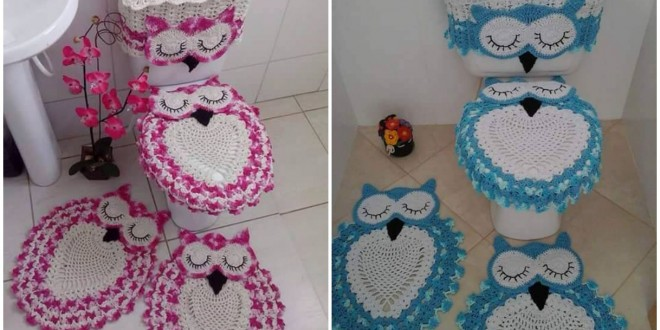 Crochet Owl Bathroom Set