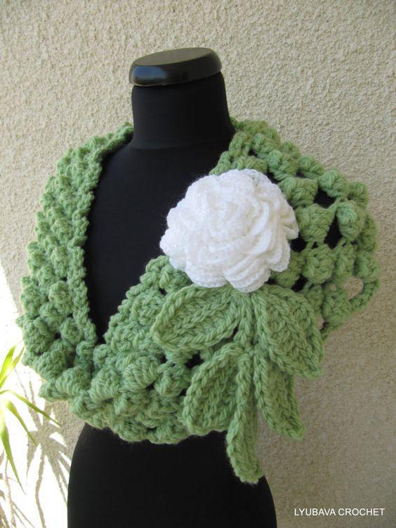 Crochet Popcorn Stitch Scarf 1