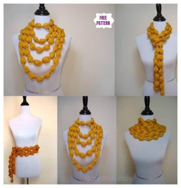 Crochet Popcorn Stitch Scarf 3