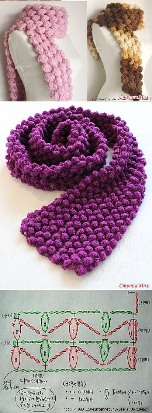 Crochet Popcorn Stitch Scarf 4