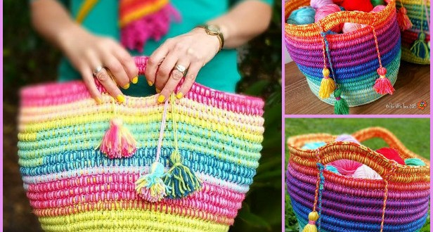 Crochet Rainbow Rope Basket