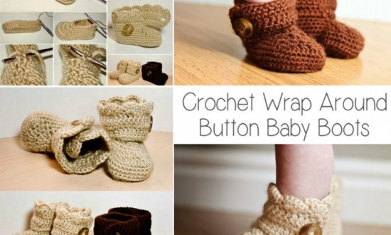 Crochet Wrap Around Button Boots Free Pattern wonderfuldiy