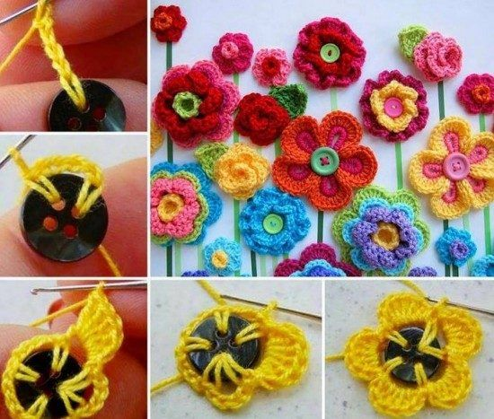 Crochet flower button 1
