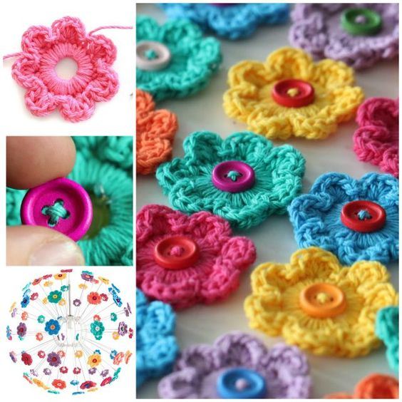 Crochet flower button 2