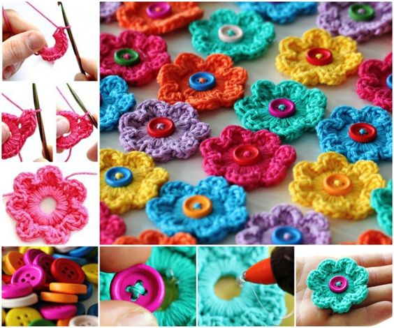 Crochet flower button 3