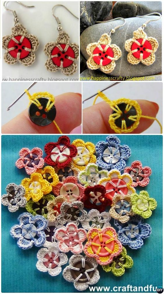 Crochet flower button 4