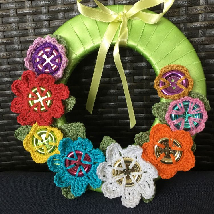 Crochet flower button 5