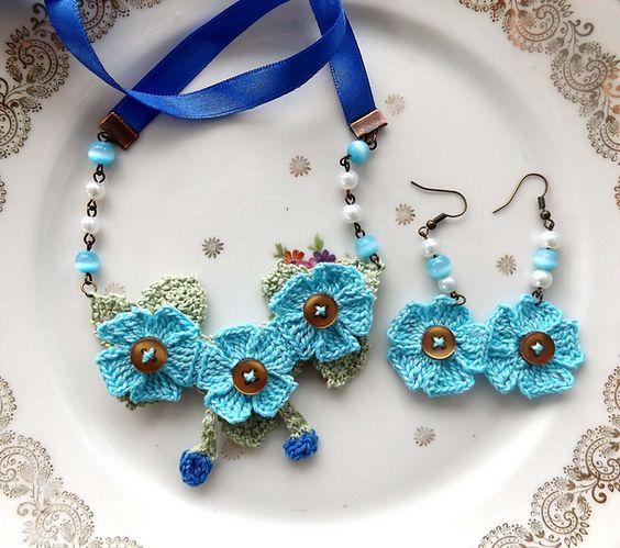 Crochet flower button 6