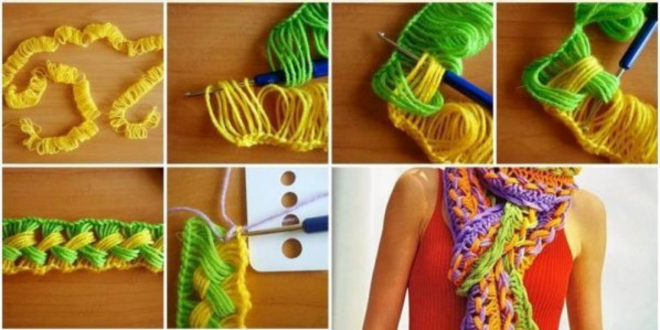 DIY Colorful Hook Knit Scarf with Ruler