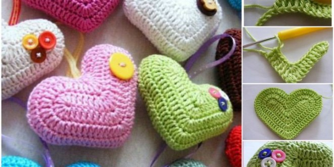 DIY Crochet 3D Heart free pattern 1