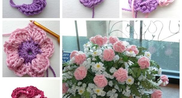 DIY Crochet Carnation Flowe F