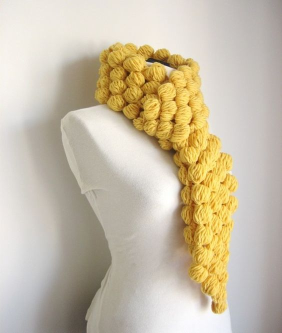 DIY Crochet Puff Ball Scarf 1