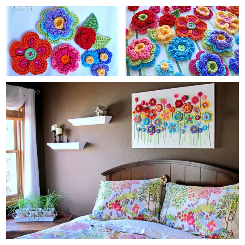 DIY-Lovely-Crochet-Flowers-Canvas-with-Free-Pattern