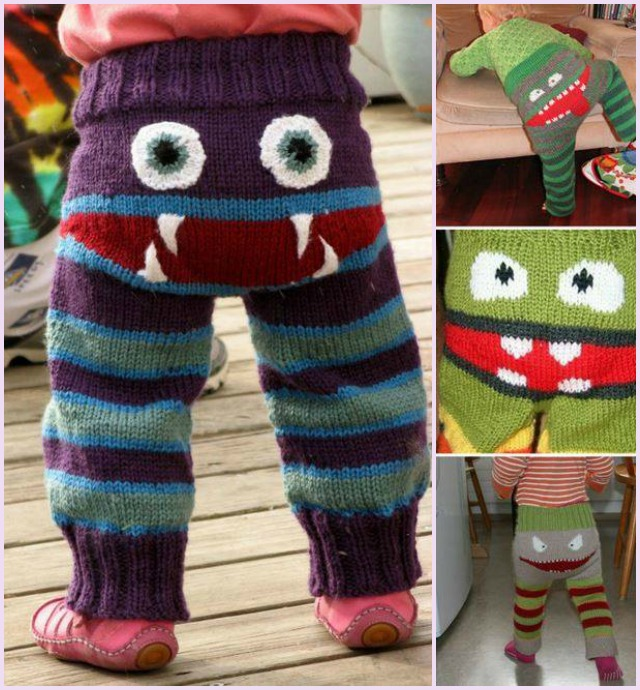 Adorable Knitted Monster Pants Pattern