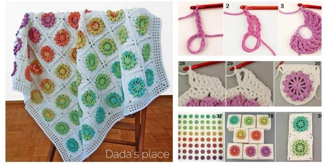 Floral Motif Afghan Baby Blanket free pattern