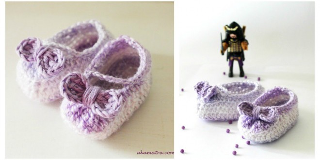 Free Crochet Baby Booties with Bow Pattern