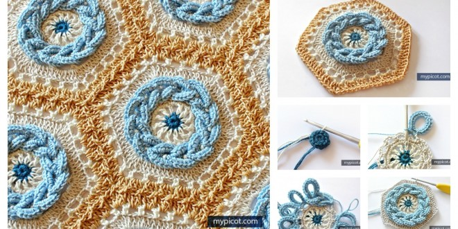Granny Cable Hexagon Blanket Crochet