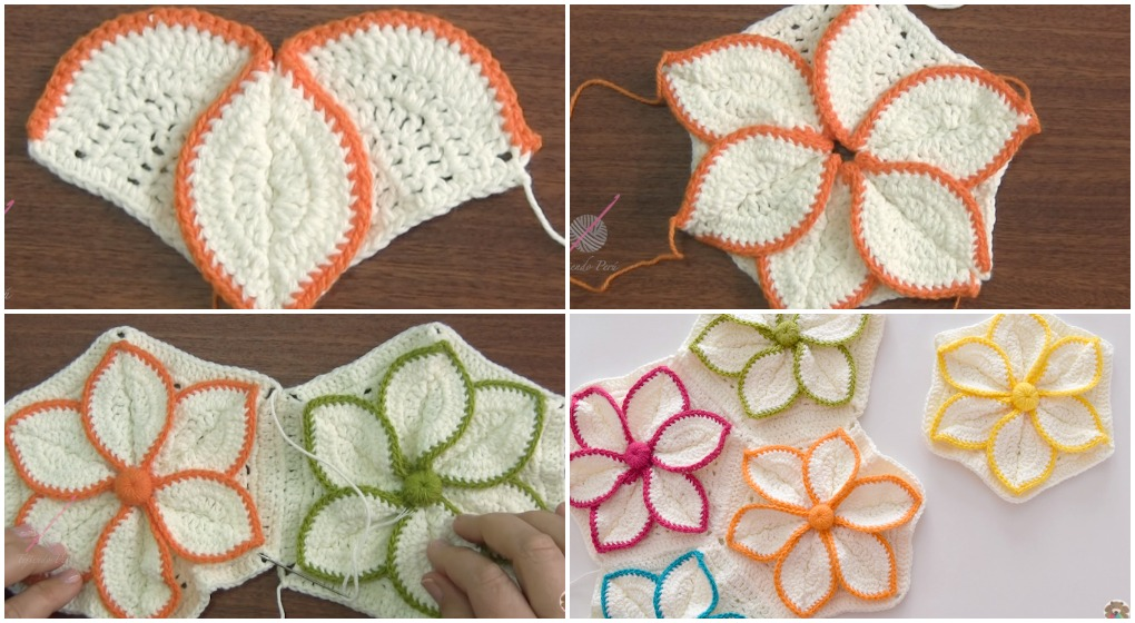 Crochet Hexagon 3d Flower