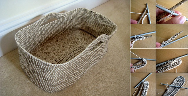 How to DIY Crochet Rope Basket f
