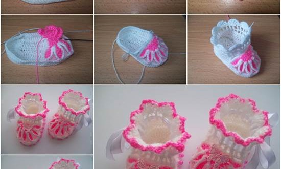 How to DIY Pretty Knitted Flower Baby Booties