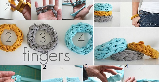 Jersey Finger Knitted Bracelets DIY 0 0