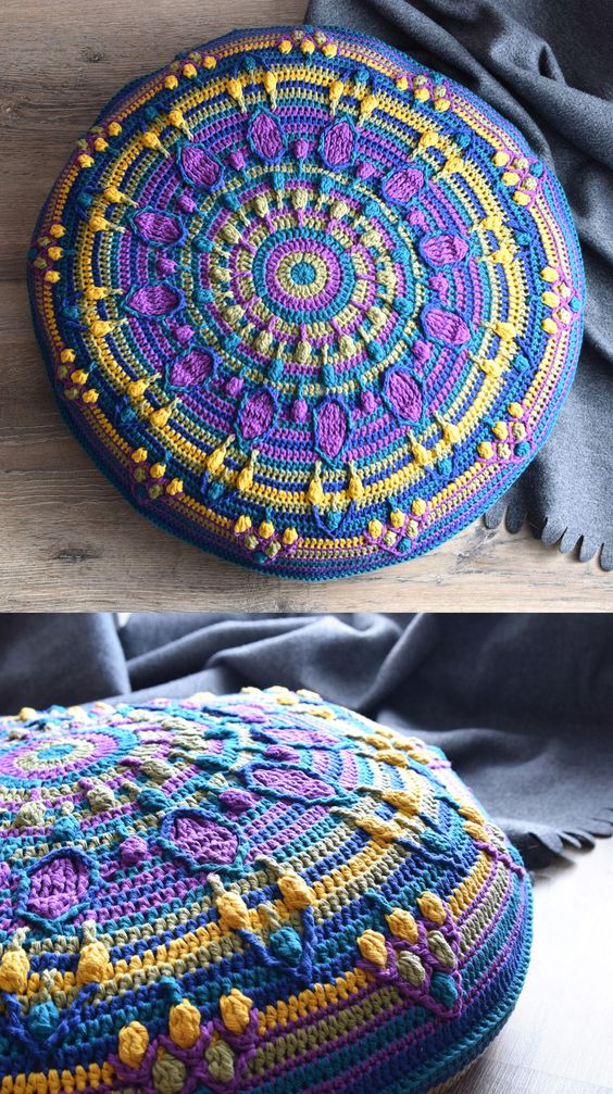 Mandala Pillow Free Crochet 3