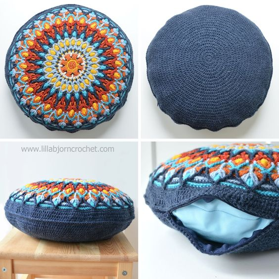 Mandala Pillow Free Crochet 5