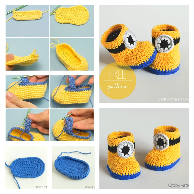 Minion-Crochet-Booties-with-Free-Pattern-1