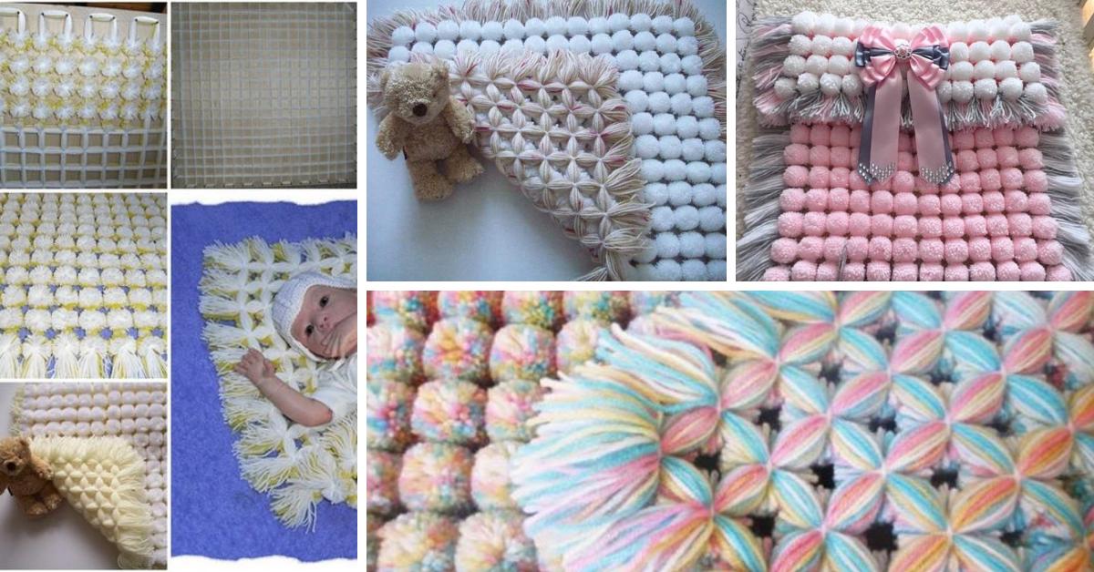 Pretty Pom Pom Baby Blanket Free Video Tutorial