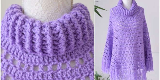 Poncho With Crochet Collar