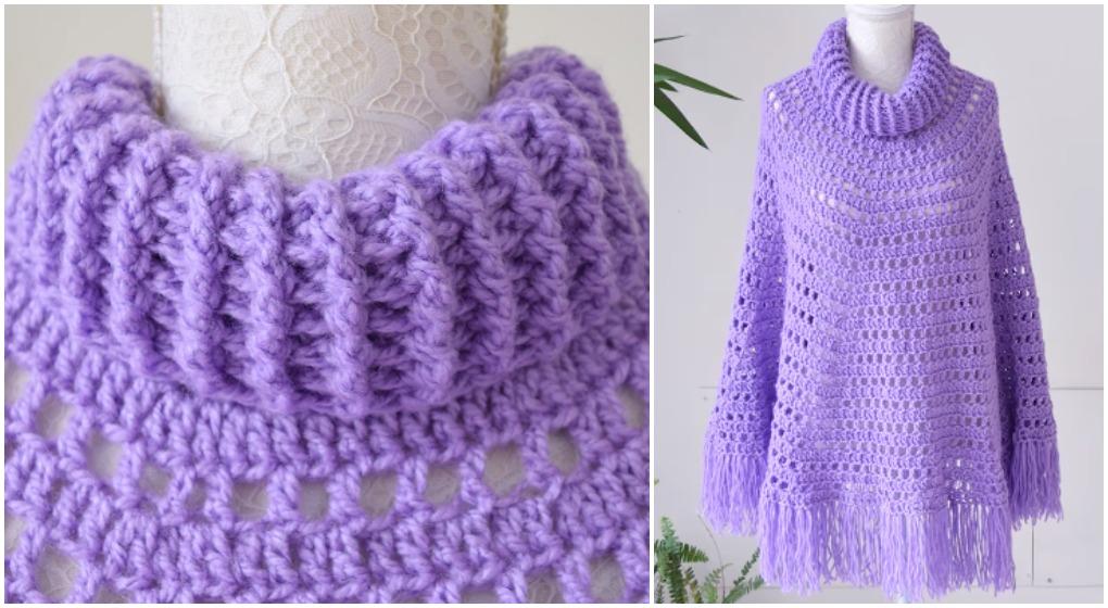 Basic Poncho With Crochet Collar Easy Tutorial