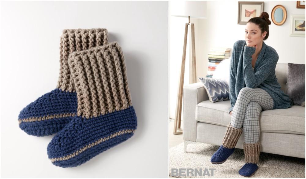 Crochet Slipper Socks From Bernat Free Pattern