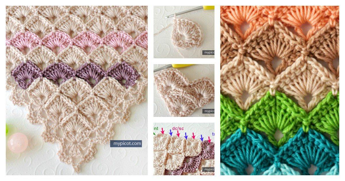 Crochet Triangle Shawl Box Stitch