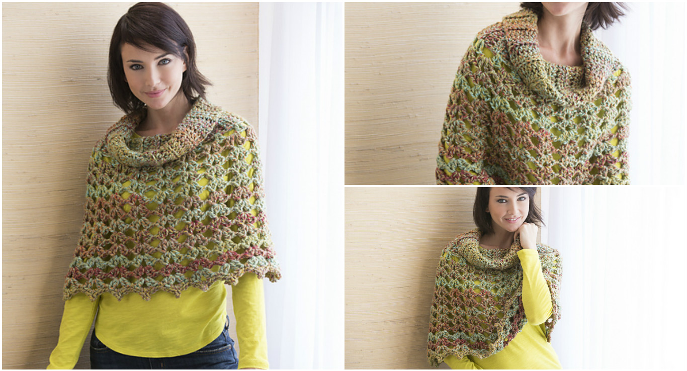Knitting Pattern For Poncho With Cowl Neck : Chic Cowl Neck Poncho