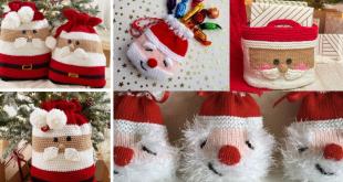 christmas crochet santa bag